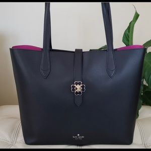 Kate Spade Large Kaci Black Tote with Magenta NWOT